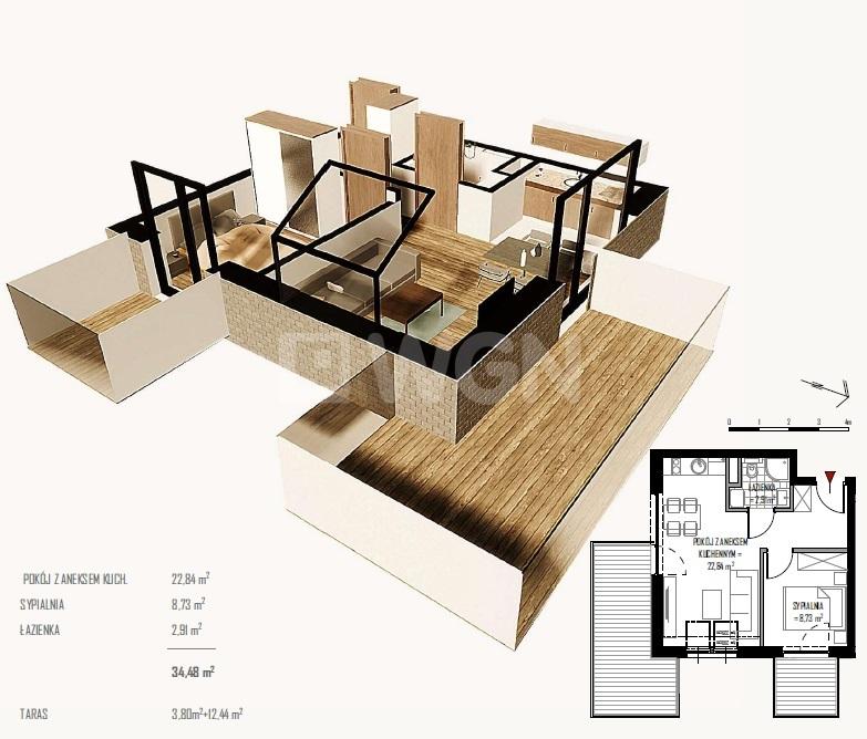 Niechorze, 594 490 zł, 34.97 m2, 2 pokojowe - zdjęcie 1