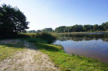 Działka rekreacyjna nad jeziorem.